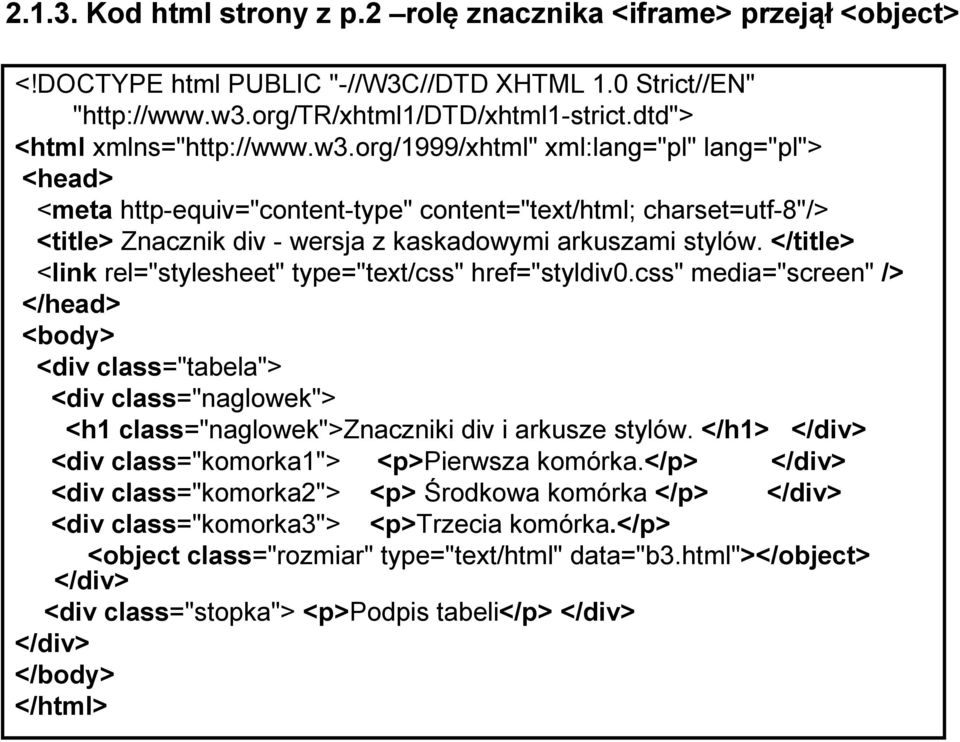 "org/1999/xhtml"" xml:lang=""pl"" lang=""pl""> <head> <meta http-equiv=""content-type"" content=""text/html; charset=utf-8""/> <title> Znacznik div - wersja z kaskadowymi arkuszami stylów."