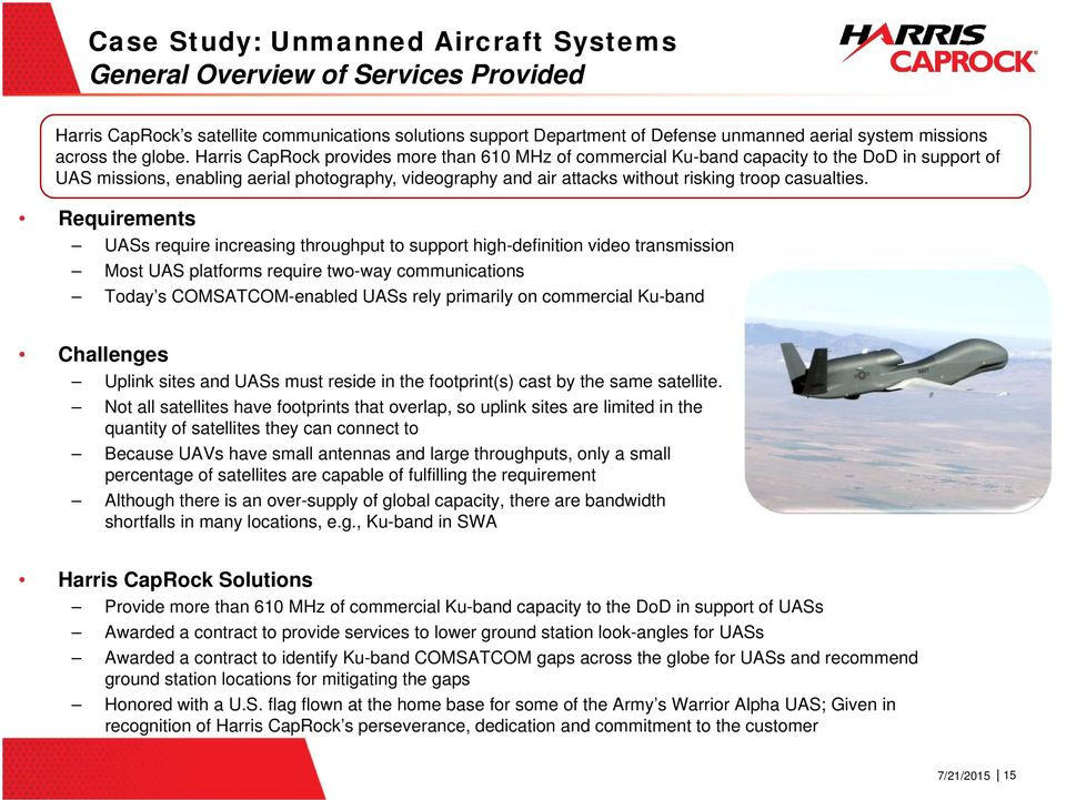 Harris CapRock provides more than 610 MHz of commercial Ku-band capacity to the DoD in support of UAS missions, enabling aerial photography, videography and air attacks without risking troop