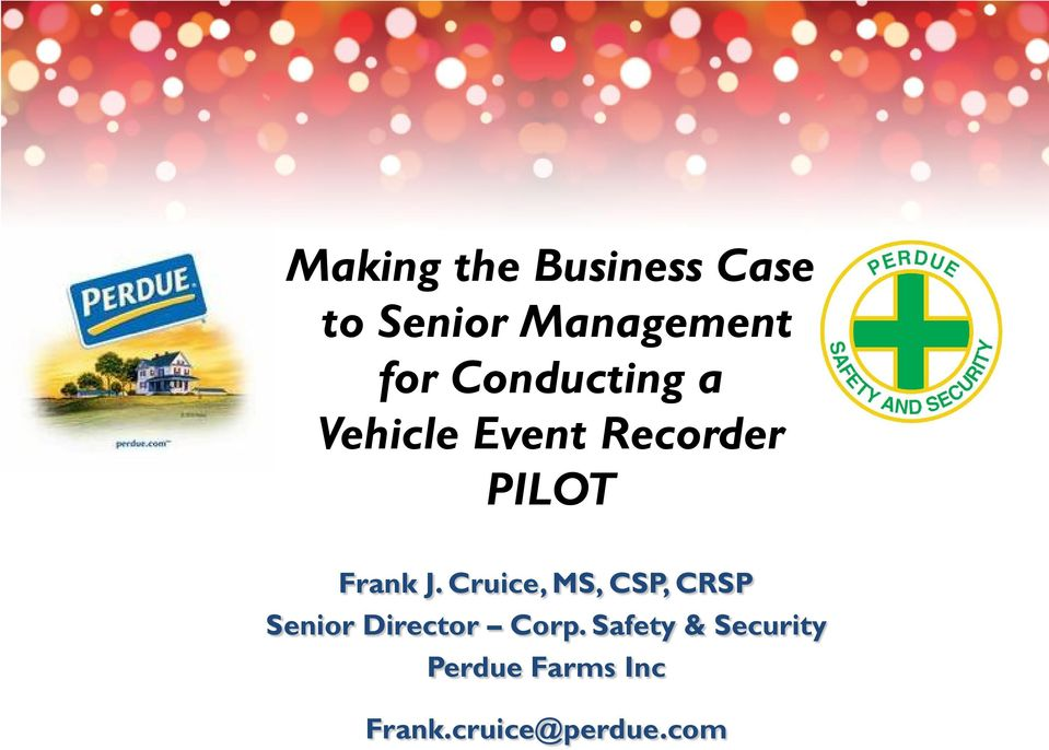 Cruice, MS, CSP, CRSP Senior Director Corp.