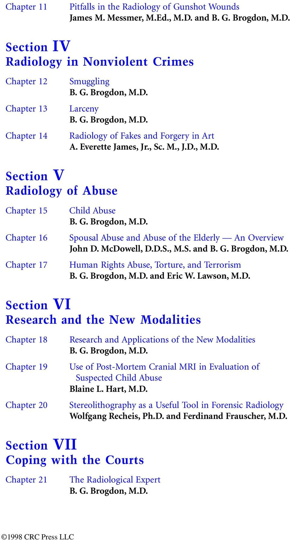 McDowell, D.D.S., M.S. and B. G. Brogdon, M.D. Human Rights Abuse, Torture, and Terrorism B. G. Brogdon, M.D. and Eric W. Lawson, M.D. Section VI Research and the New Modalities Chapter 18 Chapter 19 Chapter 20 Research and Applications of the New Modalities B.
