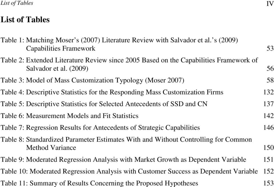 (2009) 56 Table 3: Model of Mass Customization Typology (Moser 2007) 58 Table 4: Descriptive Statistics for the Responding Mass Customization Firms 132 Table 5: Descriptive Statistics for Selected