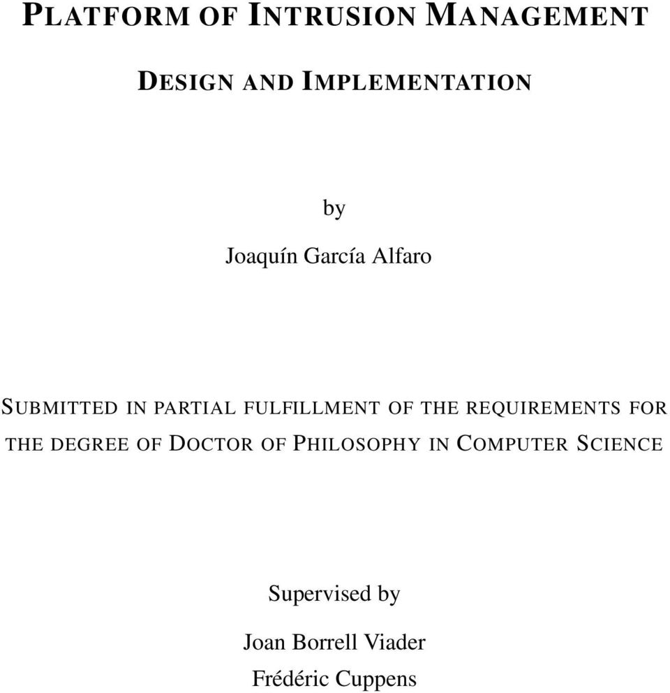 REQUIREMENTS FOR THE DEGREE OF DOCTOR OF PHILOSOPHY IN
