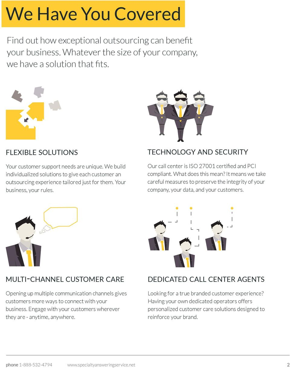 TECHNOLOGY AND SECURITY Our call center is ISO 27001 certified and PCI compliant. What does this mean?