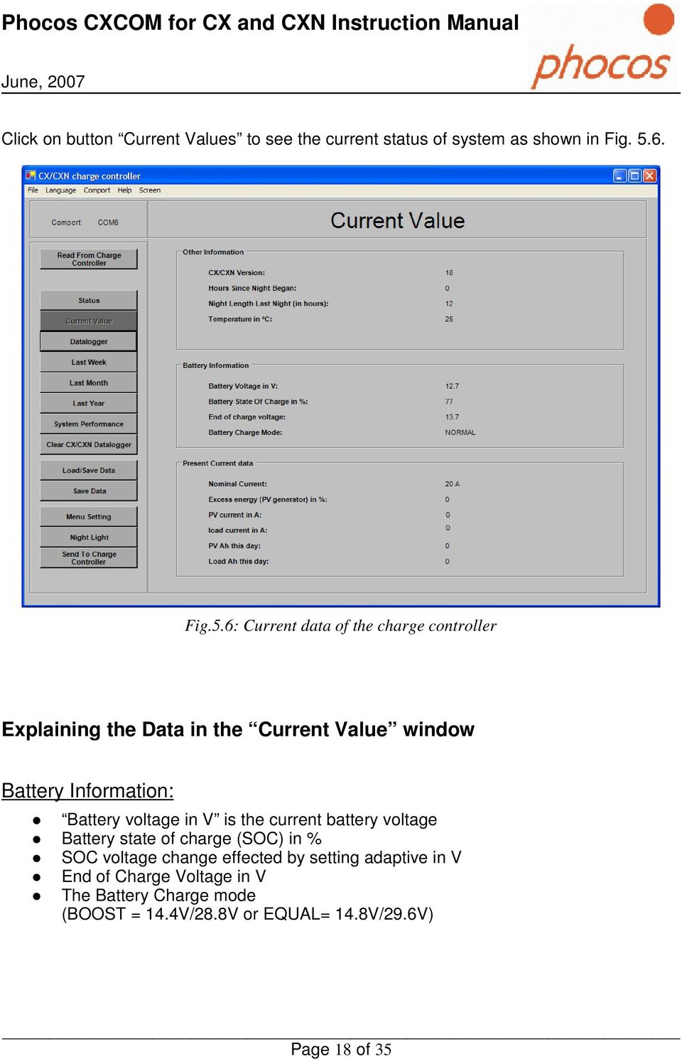 6: Current data of the charge controller Explaining the Data in the Current Value window Battery Information: