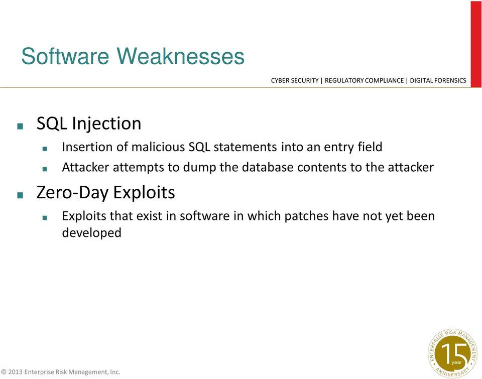 database contents to the attacker Zero-Day Exploits Exploits