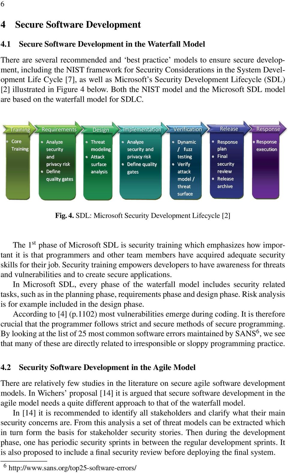 the System Development Life Cycle [7], as well as Microsoft s Security Development Lifecycle (SDL) [2] illustrated in Figure 4 below.