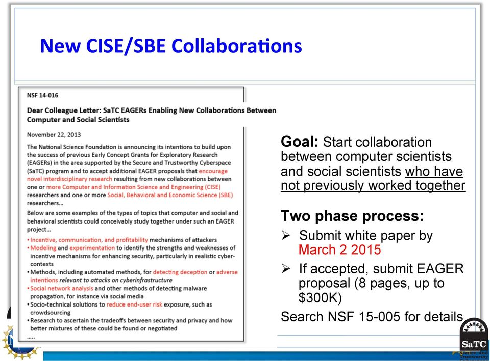 together Two phase process: Ø Submit white paper by March 2 2015 Ø If