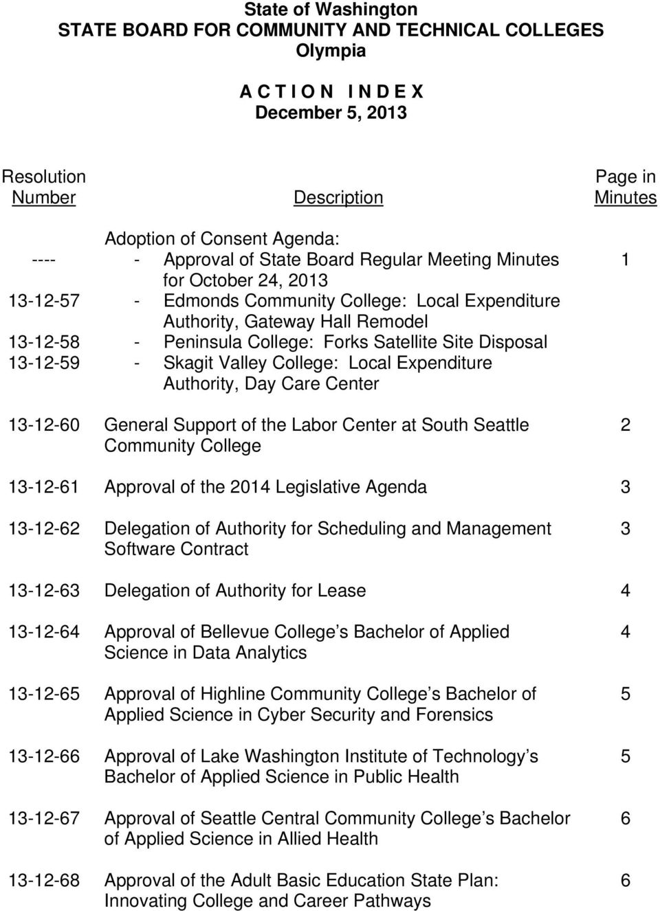 Disposal - Skagit Valley College: Local Expenditure Authority, Day Care Center 13-12-60 General Support of the Labor Center at South Seattle Community College 1 2 13-12-61 Approval of the 2014