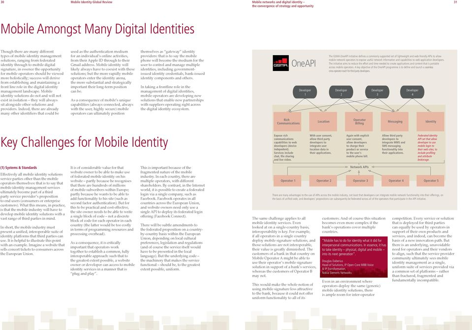 a front line role in the digital identity management landscape. Mobile identity solutions do not and will not exist in isolation they will always sit alongside other solutions and providers.
