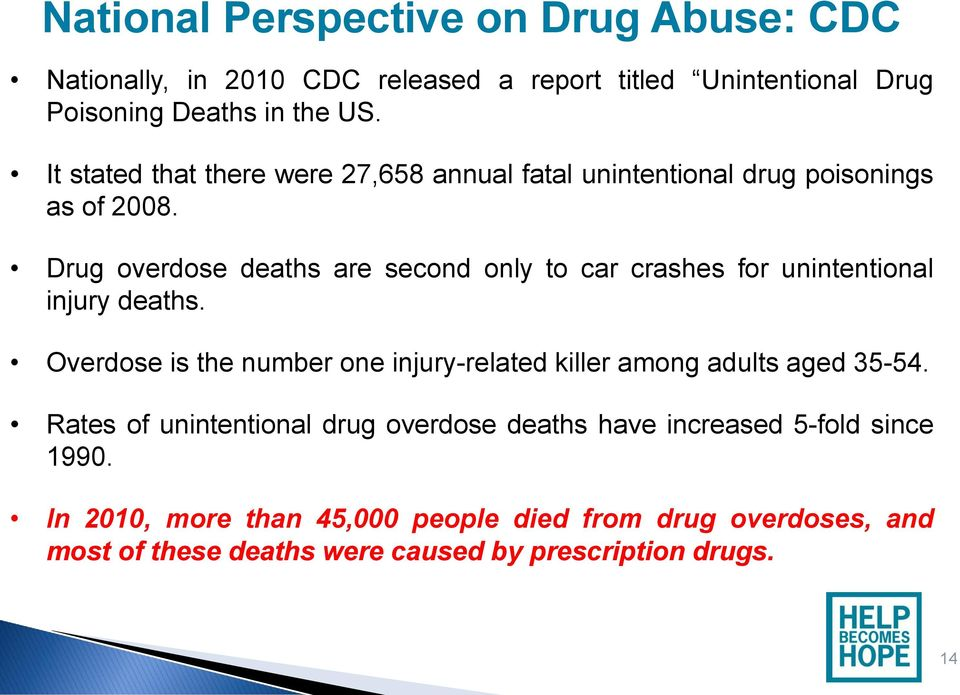 Drug overdose deaths are second only to car crashes for unintentional injury deaths.