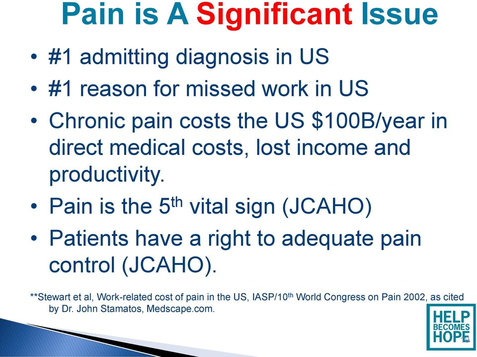 Pain is the 5 th vital sign (JCAHO) Patients have a right to adequate pain control (JCAHO).
