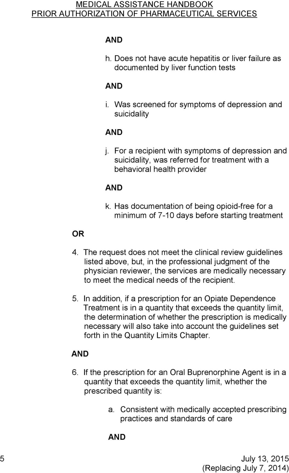 Has documentation of being opioid-free for a minimum of 7-10 days before starting treatment 4.