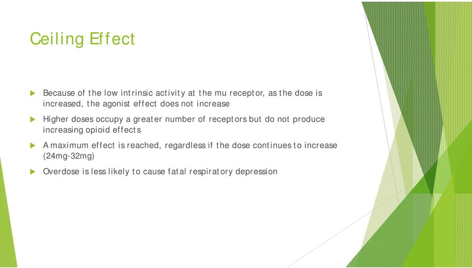 receptors but do not produce increasing opioid effects A maximum effect is reached, regardless
