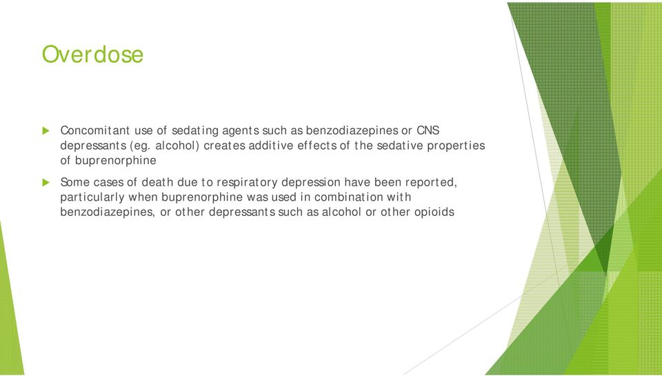 death due to respiratory depression have been reported, particularly when buprenorphine was