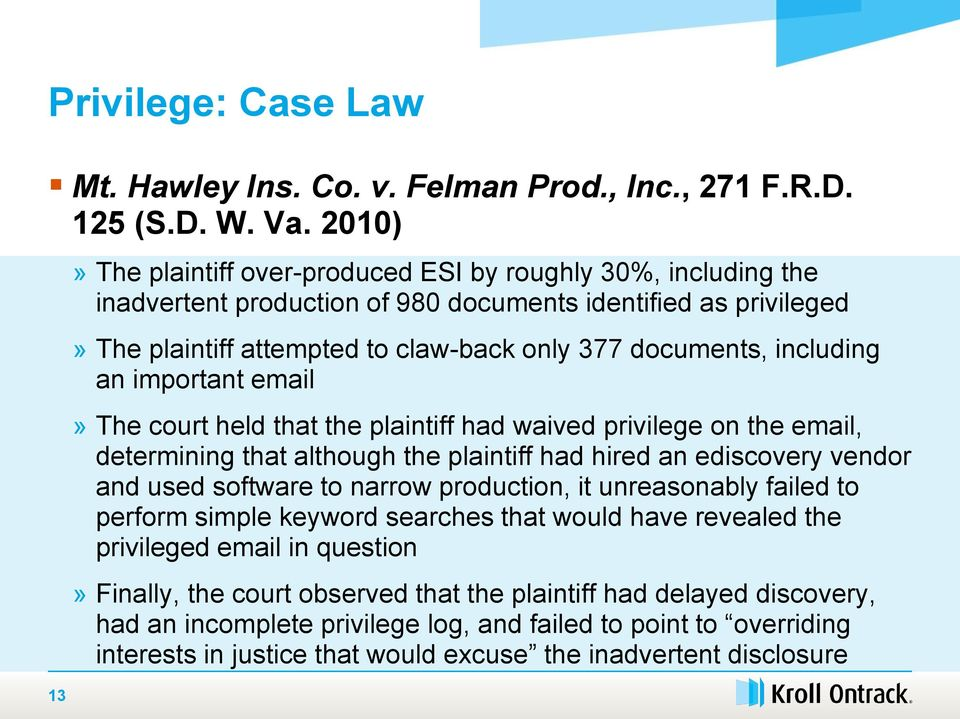 including an important email» The court held that the plaintiff had waived privilege on the email, determining that although the plaintiff had hired an ediscovery vendor and used software to narrow
