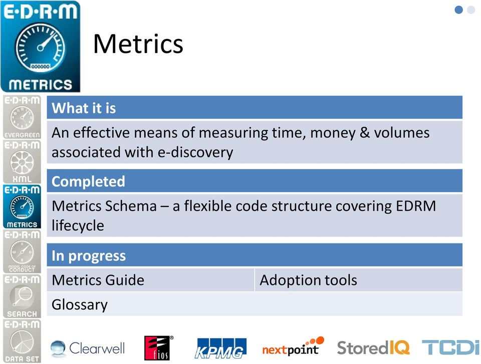 Metrics Schema a flexible code structure covering EDRM