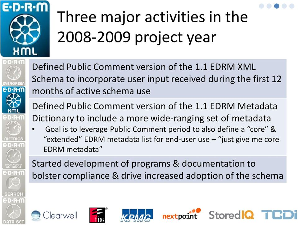 1 EDRM Metadata Dictionary to include a more wide-ranging set of metadata Goal is to leverage Public Comment period to also define a core &