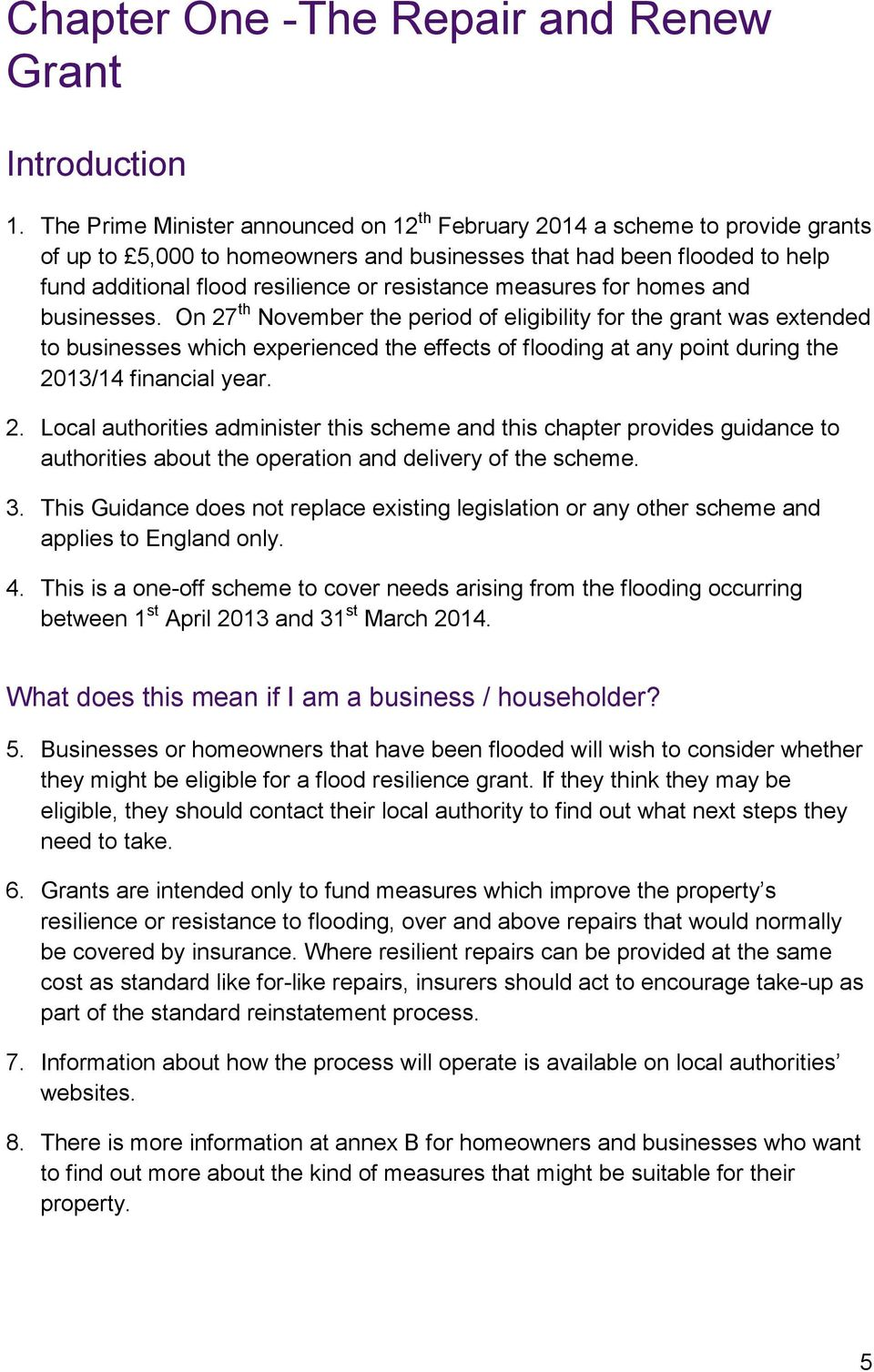 measures for homes and businesses.