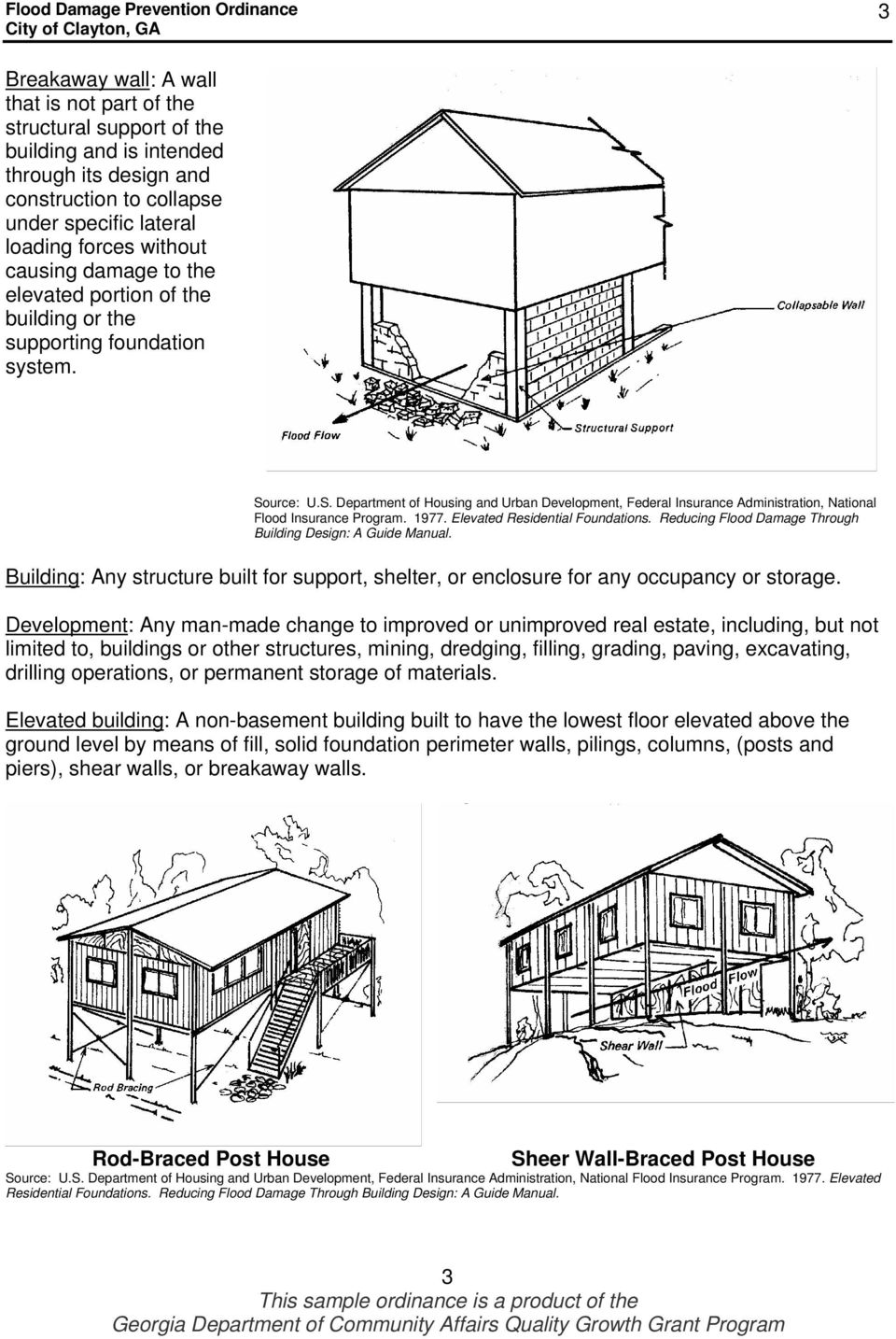urce: U.S. Department of Housing and Urban Development, Federal Insurance Administration, National Flood Insurance Program. 1977. Elevated Residential Foundations.