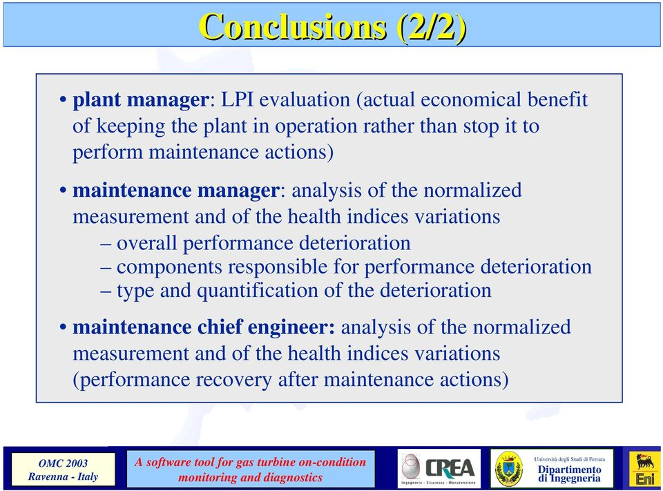 performance deterioration components responsible for performance deterioration type and quantification of the deterioration maintenance
