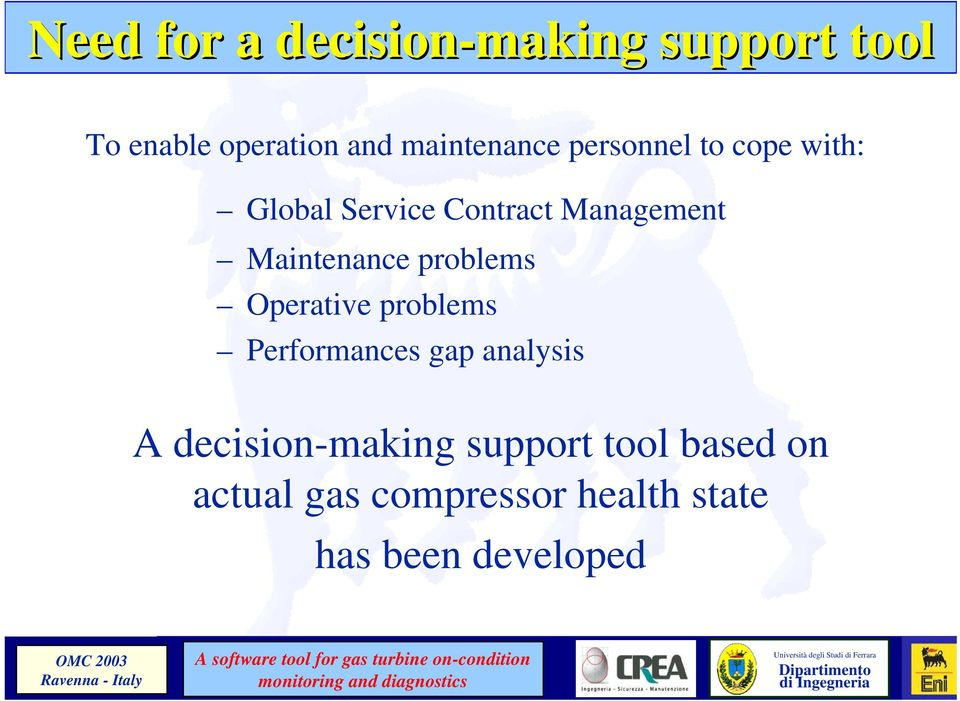 Maintenance problems Operative problems Performances gap analysis A