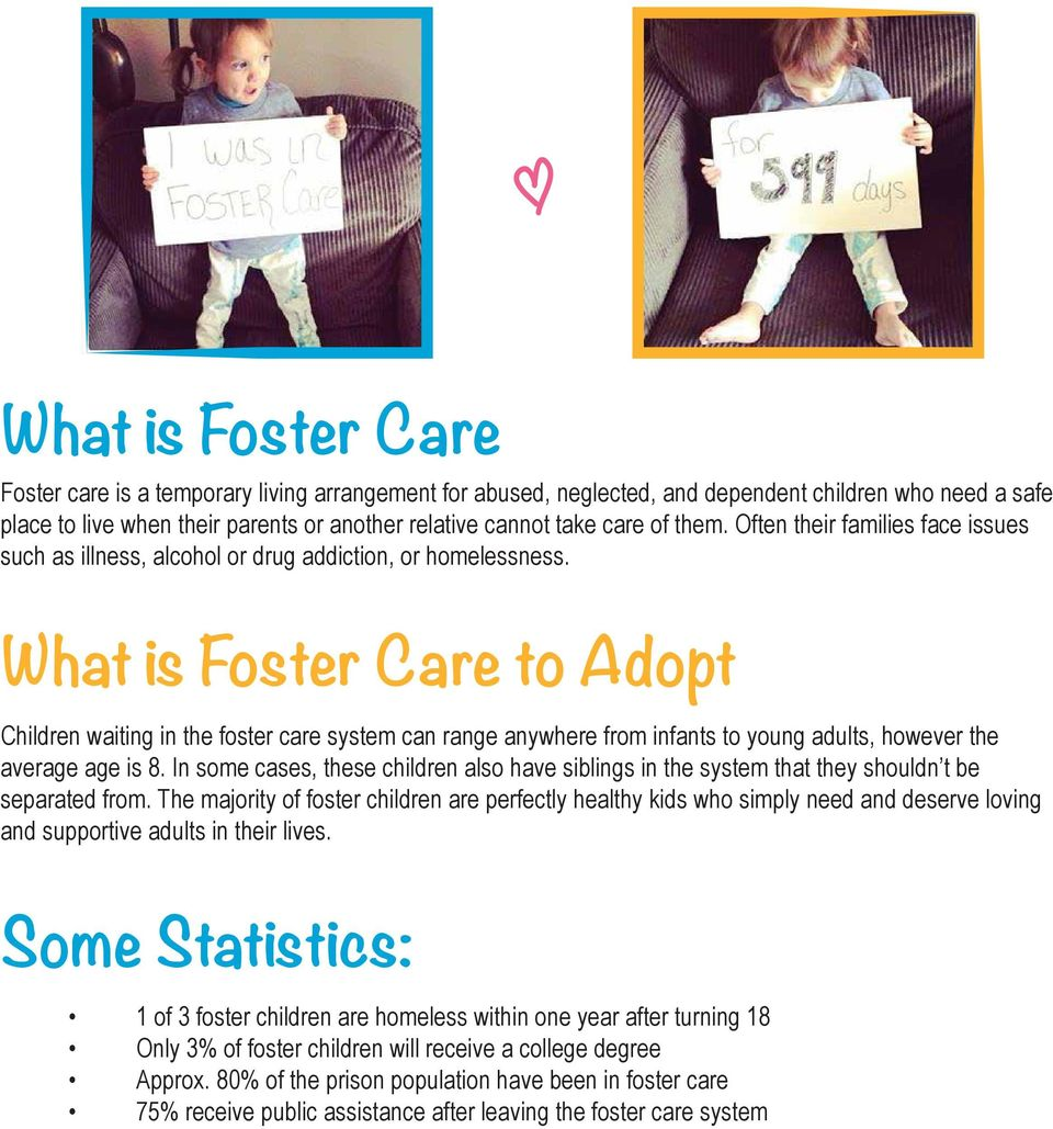 What is Foster Care to Adopt Children waiting in the foster care system can range anywhere from infants to young adults, however the average age is 8.