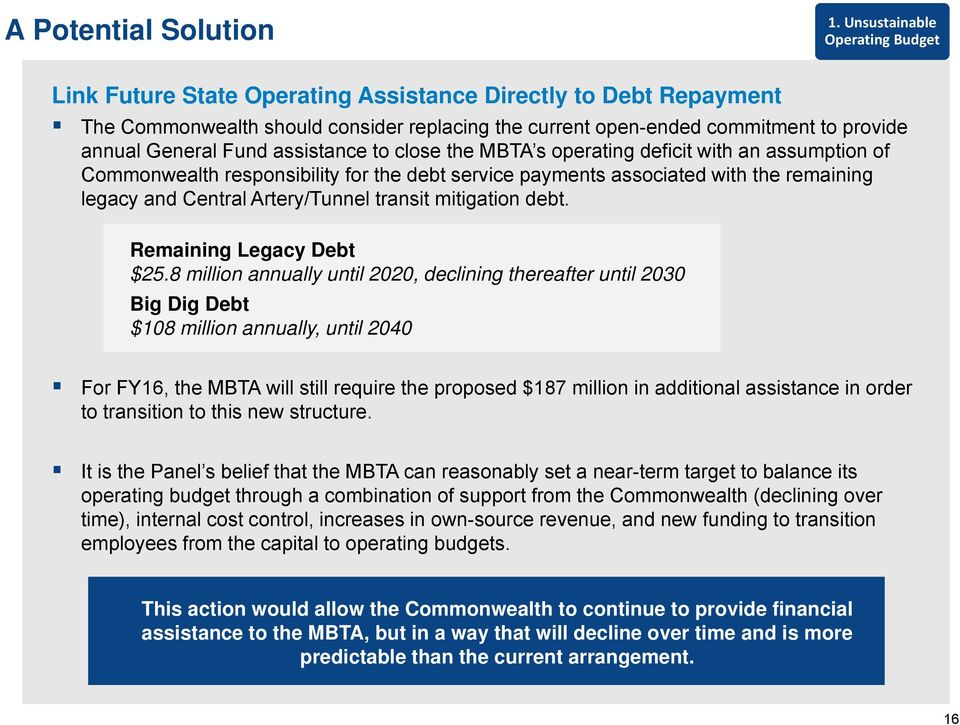 Fund assistance to close the MBTA s operating deficit with an assumption of Commonwealth responsibility for the debt service payments associated with the remaining legacy and Central Artery/Tunnel