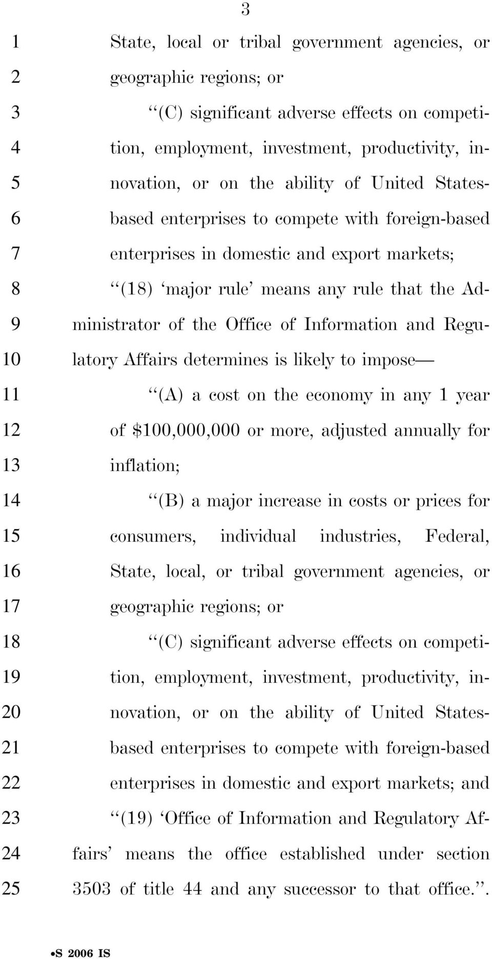 Information and Regu- latory Affairs determines is likely to impose (A) a cost on the economy in any 1 year of $0,000,000 or more, adjusted annually for inflation; (B) a major increase in costs or