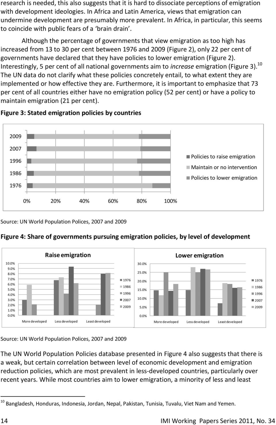 Although the percentage of governments that view emigration as too high has increased from 13 to 30 per cent between 1976 and 2009 (Figure 2), only 22 per cent of governments have declared that they