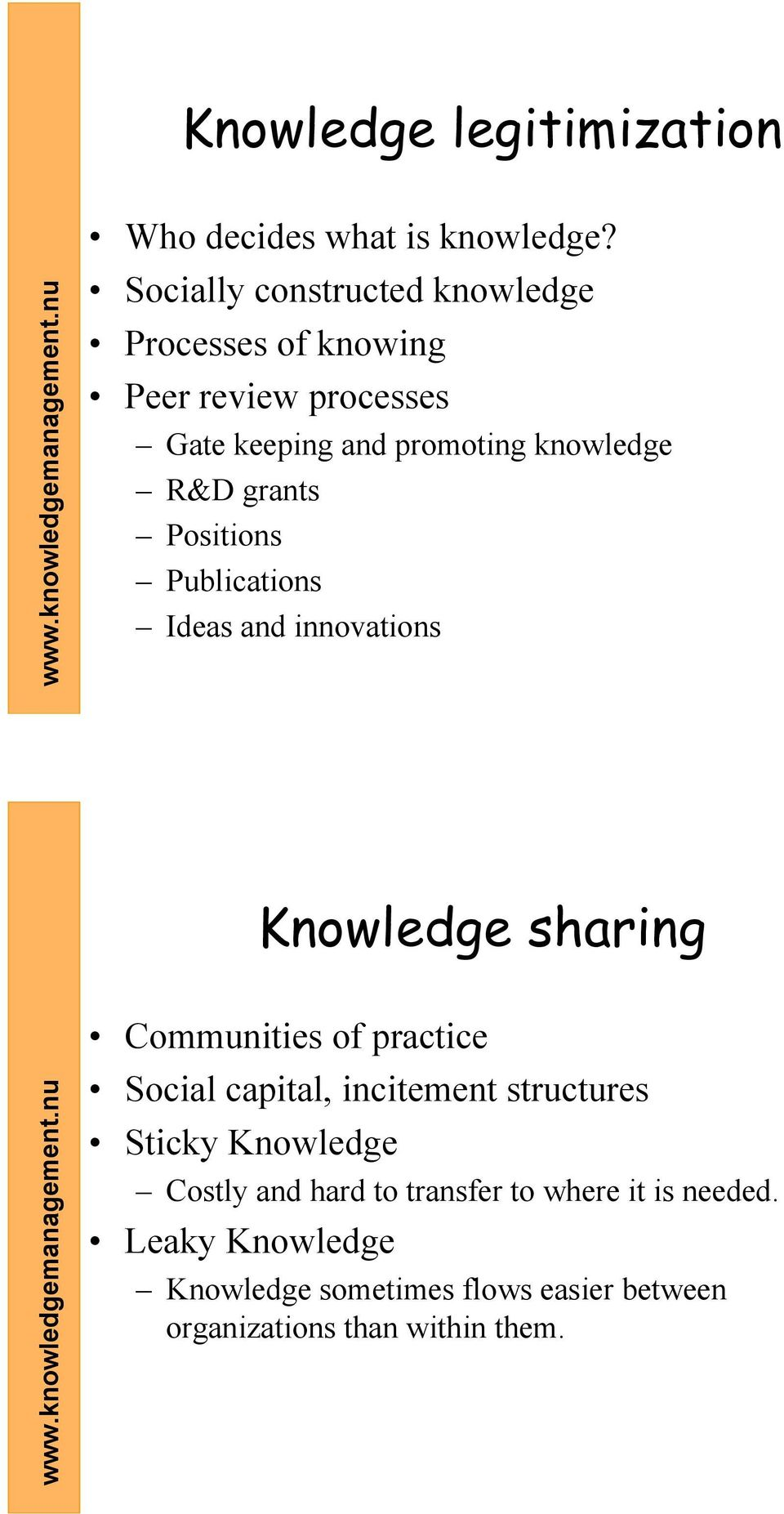 grants Positions Publications Ideas and innovations Knowledge sharing Communities of practice Social capital,