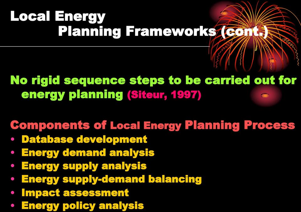1997) Components of Local Energy Planning Process Database development