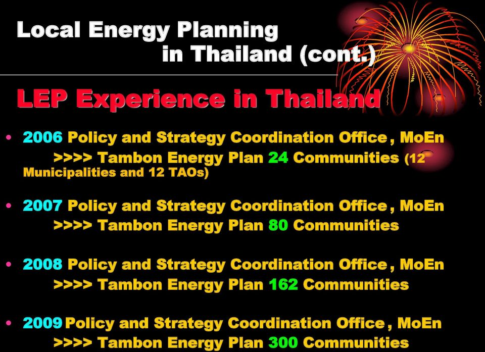 Communities (12 Municipalities and 12 TAOs) 2007 Policy and Strategy Coordination Office, MoEn >>>> Tambon Energy
