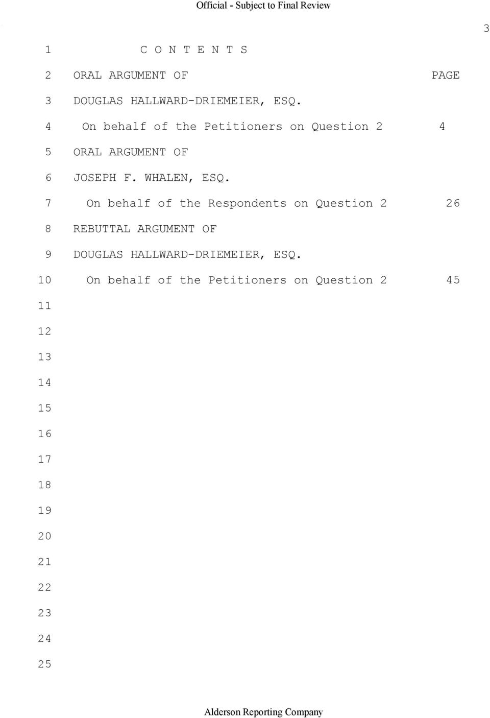 7 On behalf of the Respondents on Question 2 26 8 REBUTTAL ARGUMENT OF 9 DOUGLAS HALLWARD