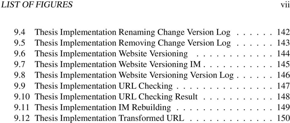 8 Thesis Implementation Website Versioning Version Log...... 146 9.9 Thesis Implementation URL Checking............... 147 9.
