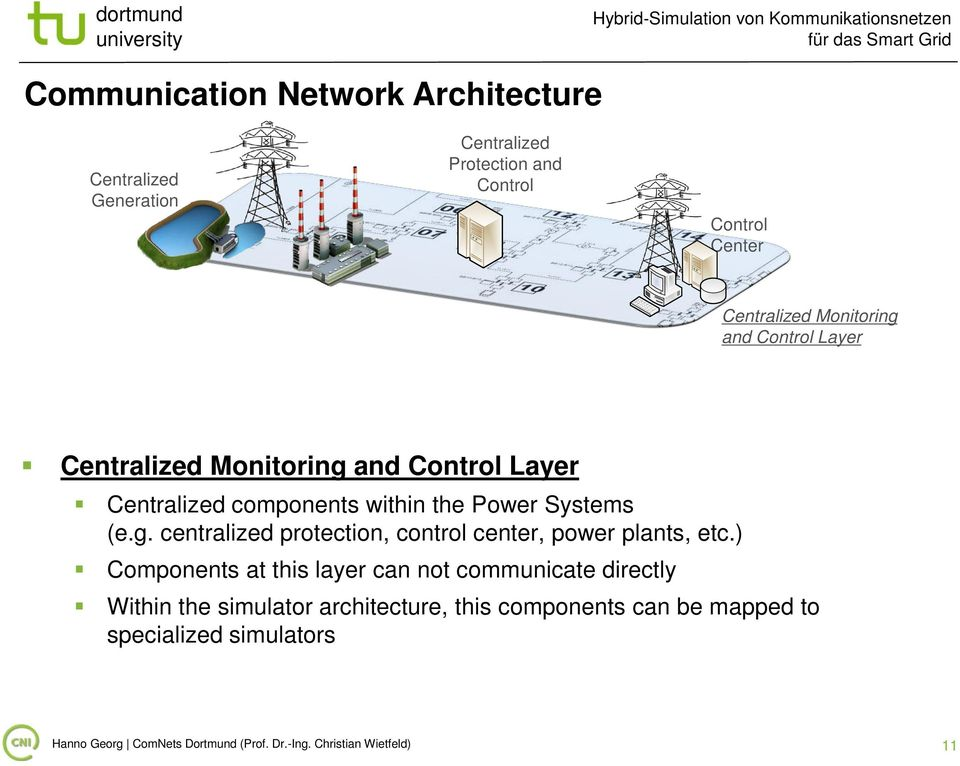 g. centralized protection, control center, power plants, etc.