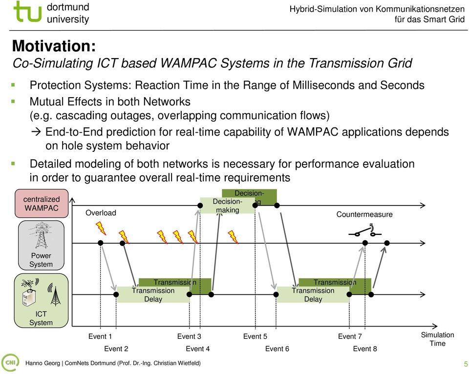 necessary for performance evaluation in order to guarantee overall real-time requirements centralized WAMPAC Overload Decisionmaking Decisionmaking Countermeasure Power System Transmission