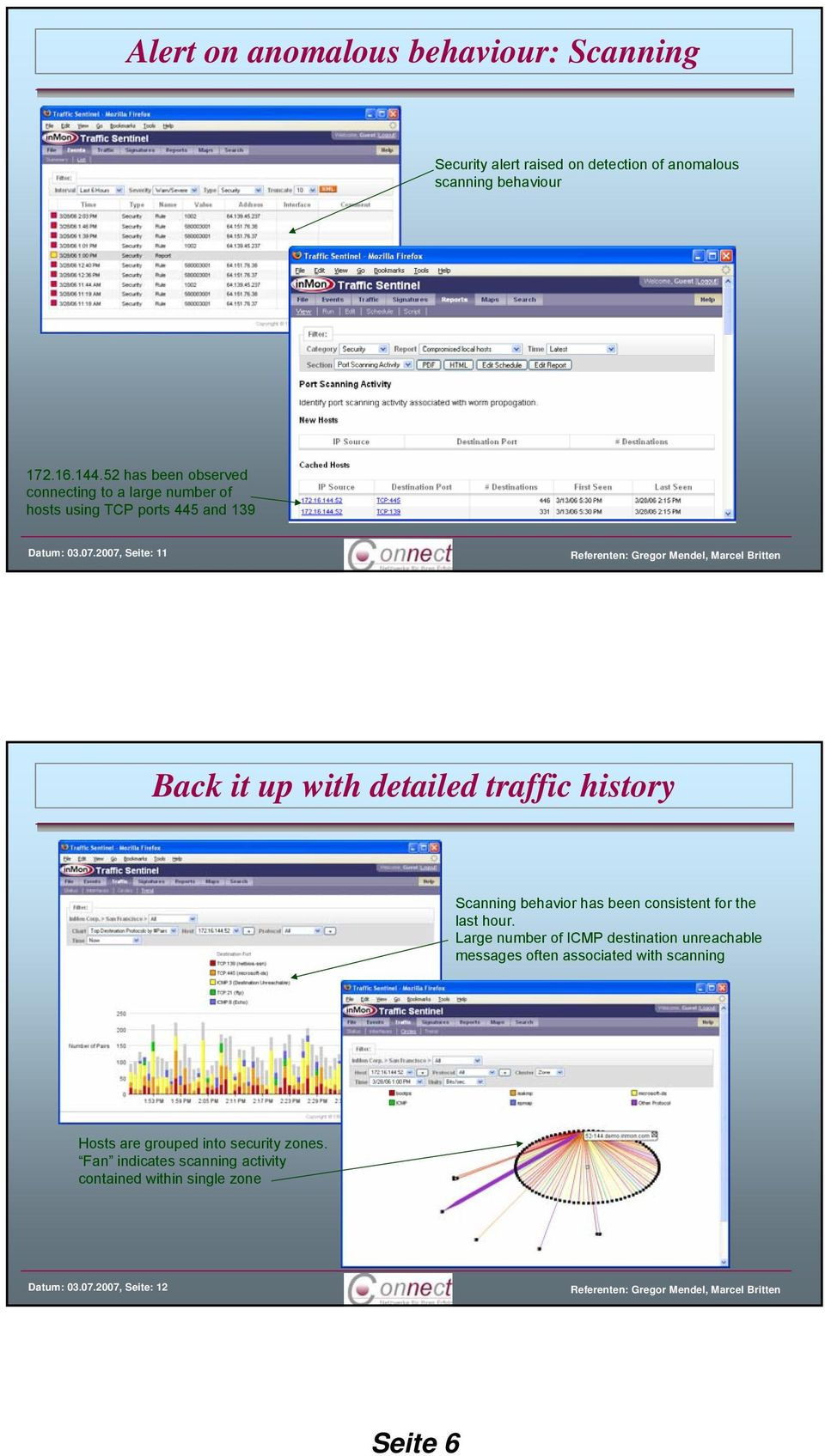 2007, Seite: 11 Back it up with detailed traffic history Scanning behavior has been consistent for the last hour.