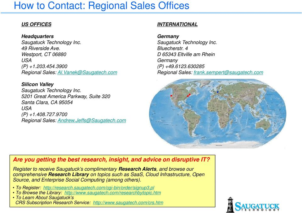 com Silicon Valley Saugatuck Technology Inc. 5201 Great America Parkway, Suite 320 Santa Clara, CA 95054 USA (P) +1.408.727.9700 Regional Sales: Andrew.Jeffs@Saugatech.
