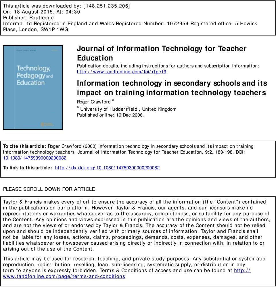 Information Technology for Teacher Education Publication details, including instructions for authors and subscription information: http://www.tandfonline.