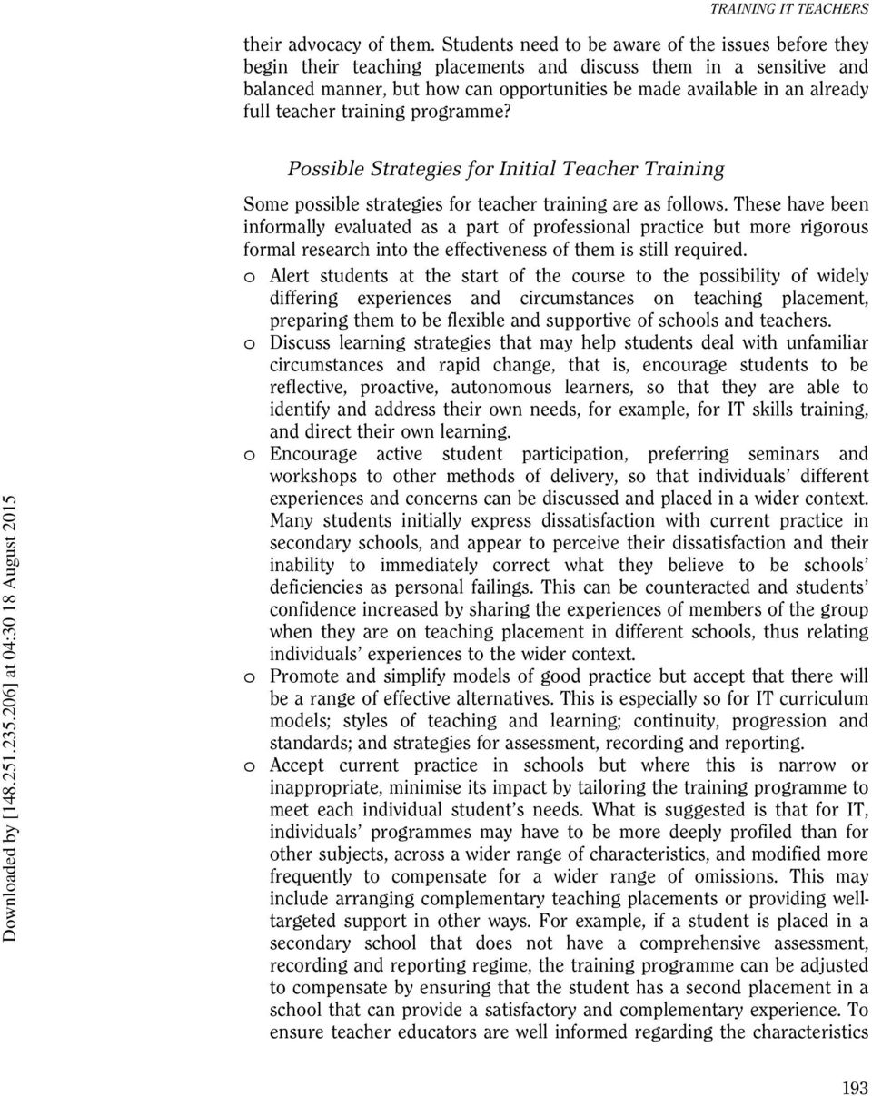 teacher training programme? Possible Strategies for Initial Teacher Training Some possible strategies for teacher training are as follows.