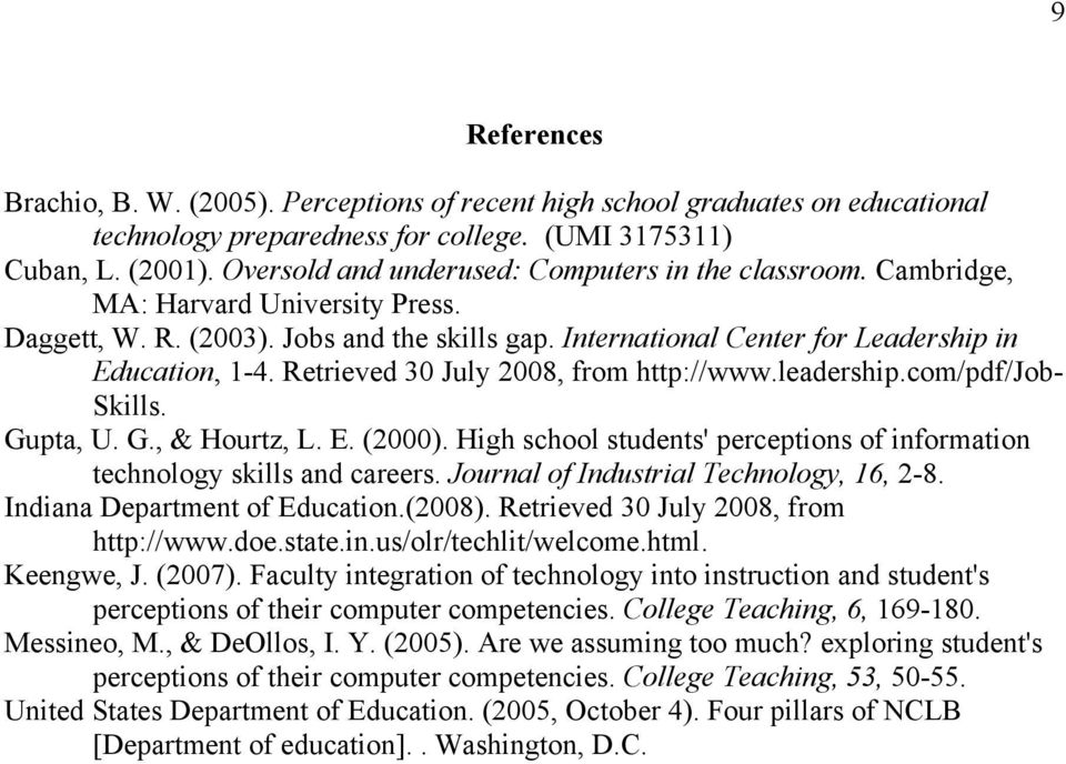 Retrieved 30 July 2008, from http://www.leadership.com/pdf/job- Skills. Gupta, U. G., & Hourtz, L. E. (2000). High school students' perceptions of information technology skills and careers.
