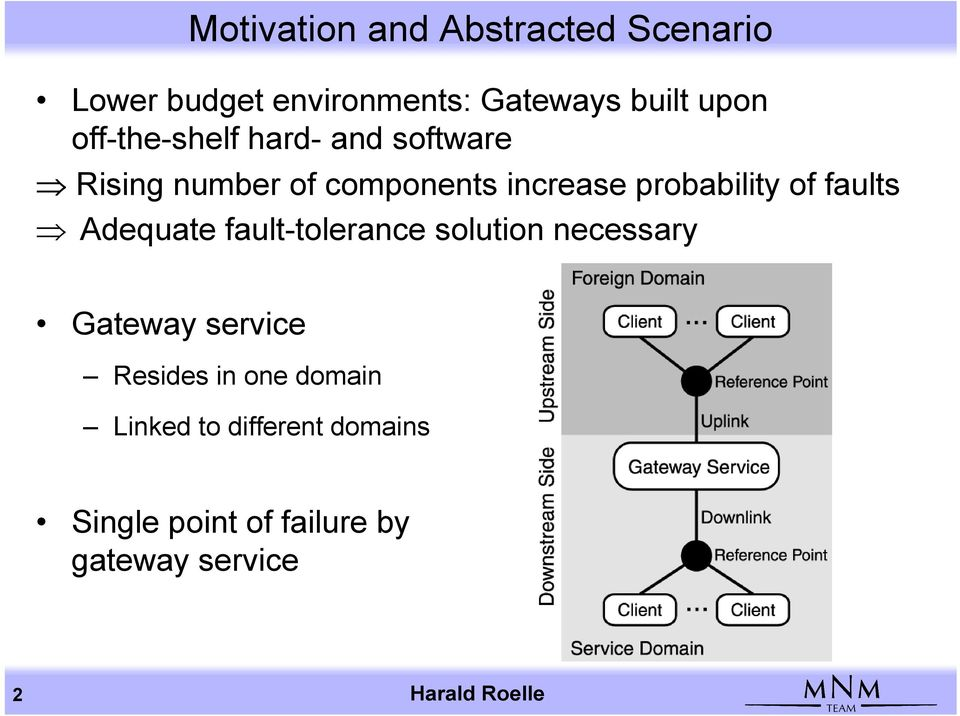 faults Adequate fault-tolerance solution necessary Gateway service Resides in one