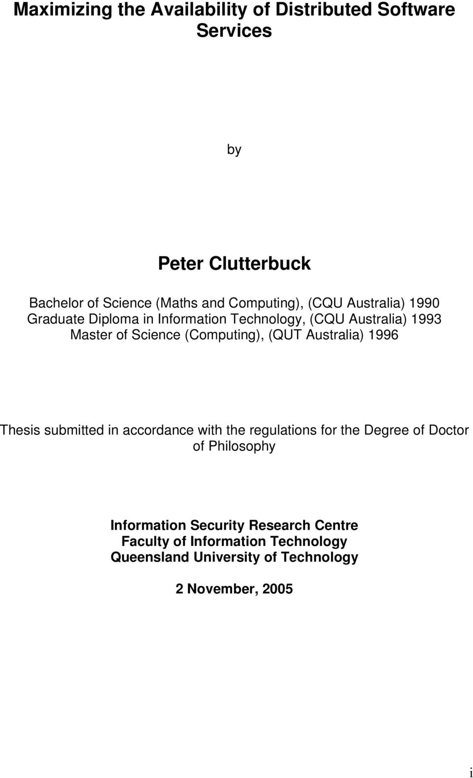 (Computing), (QUT Australia) 1996 Thesis submitted in accordance with the regulations for the Degree of Doctor of