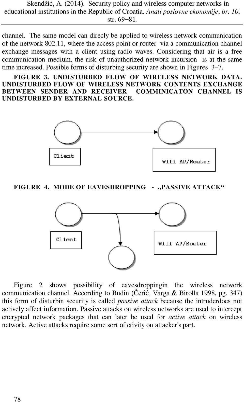 Considering that air is a free communication medium, the risk of unauthorized network incursion is at the same time increased. Possible forms of disturbing security are shown in Figures 3 7. FIGURE 3.