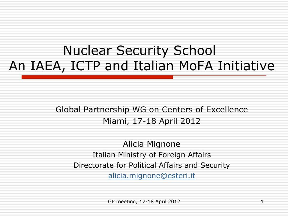 Mignone Italian Ministry of Foreign Affairs Directorate for Political