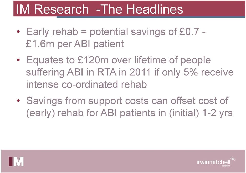 in RTA in 2011 if only 5% receive intense co-ordinated rehab Savings from
