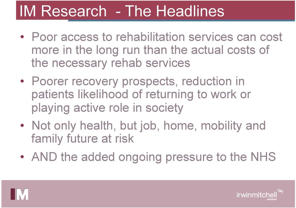reduction in patients likelihood of returning to work or playing active role in society Not