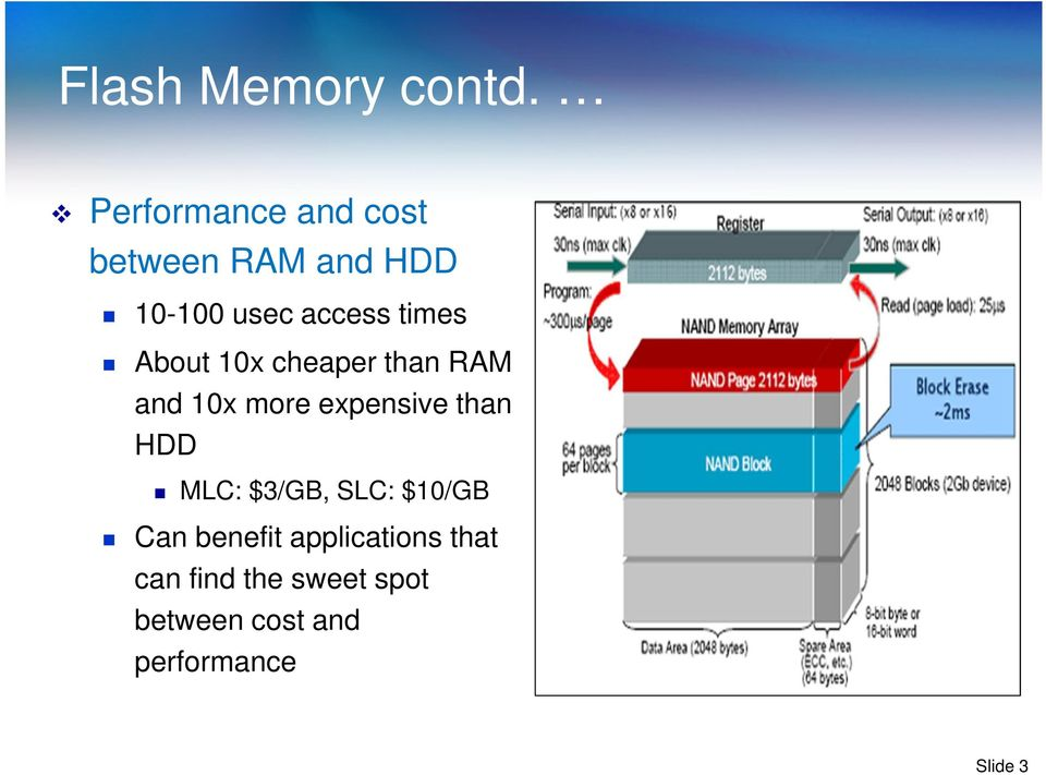 times About 10x cheaper than RAM and 10x more expensive than HDD
