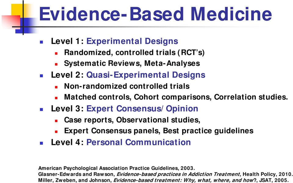 Level 3: Expert Consensus/Opinion Case reports, Observational studies, Expert Consensus panels, Best practice guidelines Level 4: Personal Communication American