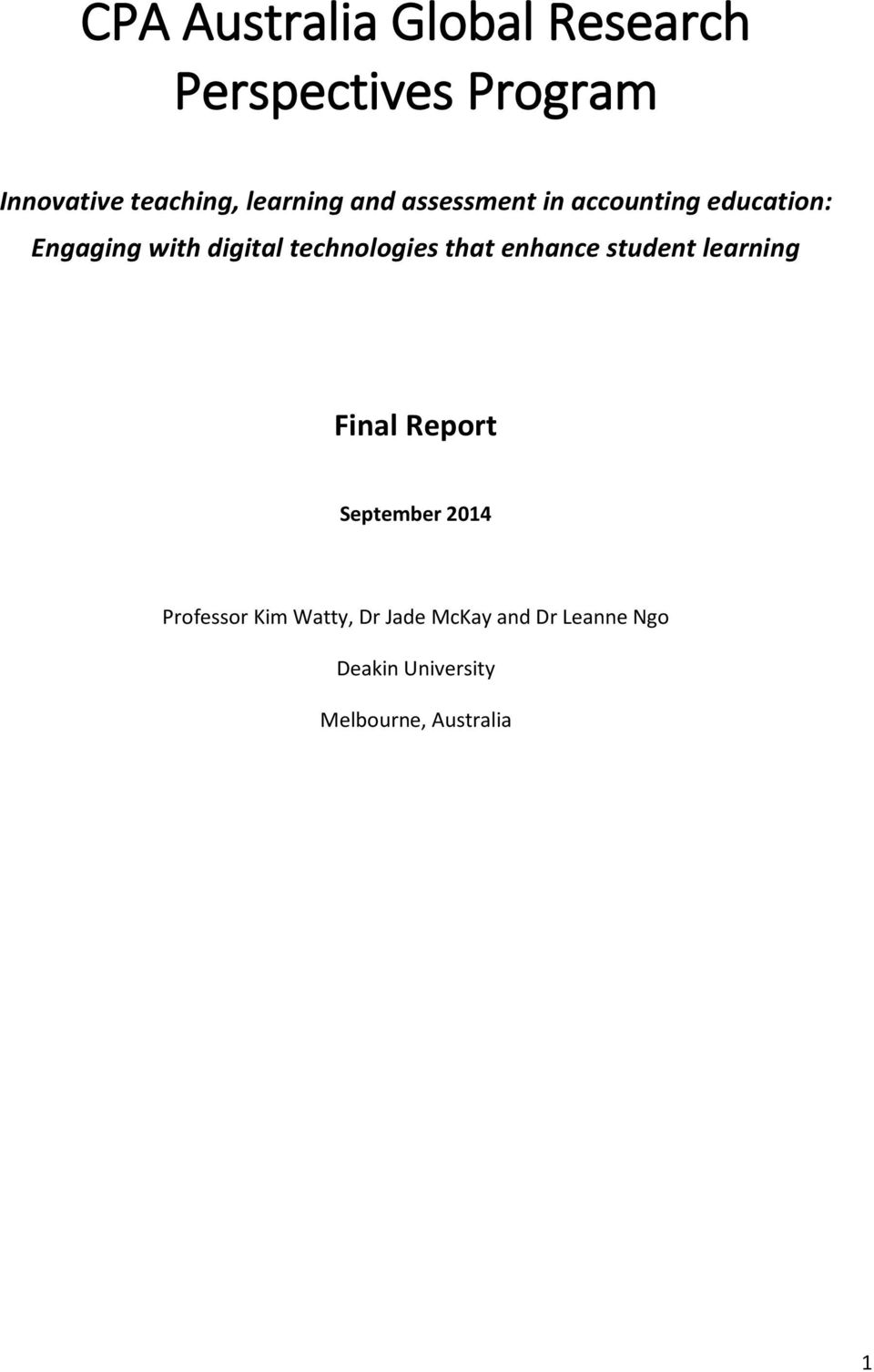 technologies that enhance student learning Final Report September 2014